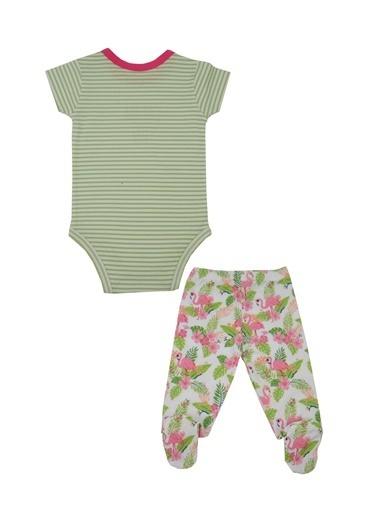 Mininio Yeşil Flamingo Body, Alt ve Önlük Takım (0-18ay) Yeşil Flamingo Body, Alt ve Önlük Takım (0-18ay) Yeşil